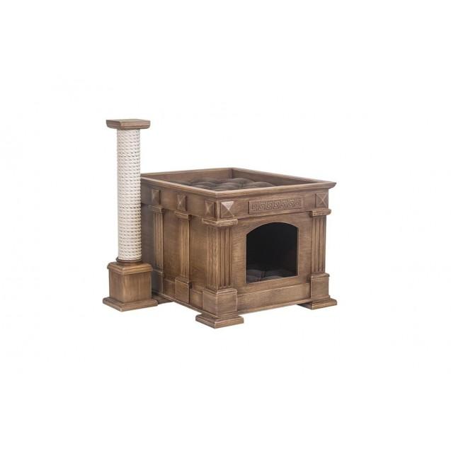 Лежак домик для кошек Храм Деметры с колонной - антик