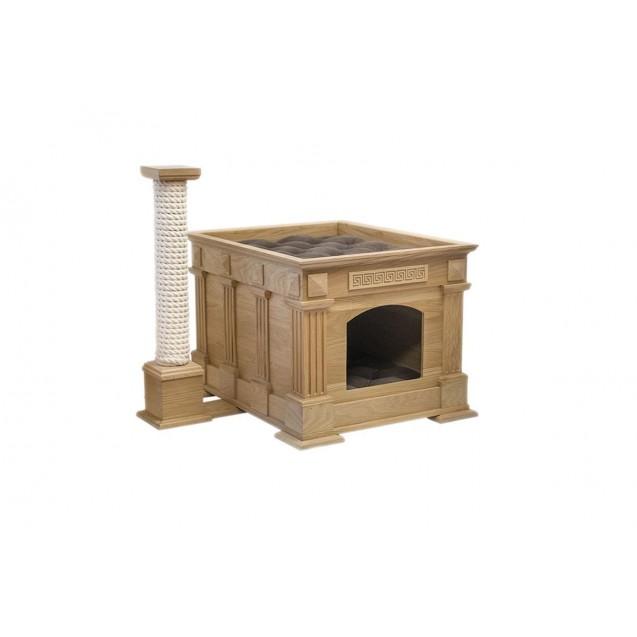 Лежак домик для кошек Храм Деметры с колонной - классик