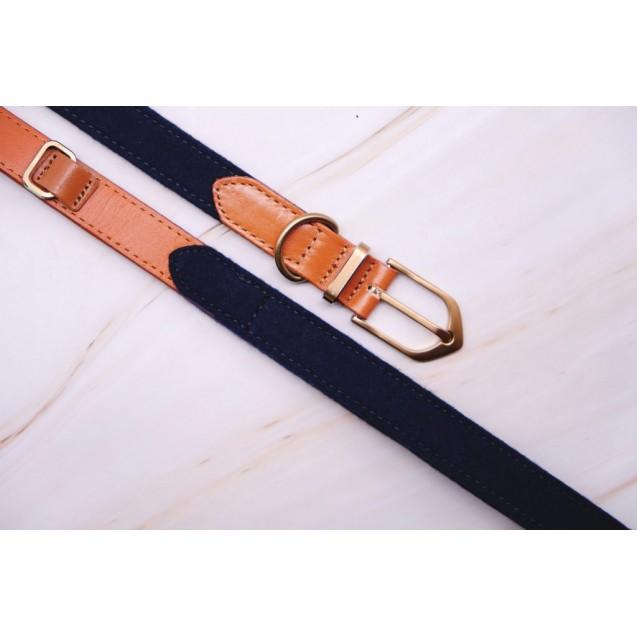 Ошейник для собак Preppy Two-tone Collar in Navy Blue - синий