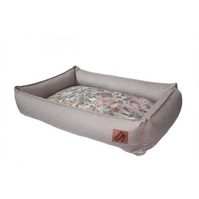 Лежанка для собак и кошек BEDFOR - бежевая елочка с подушкой Кристаллы