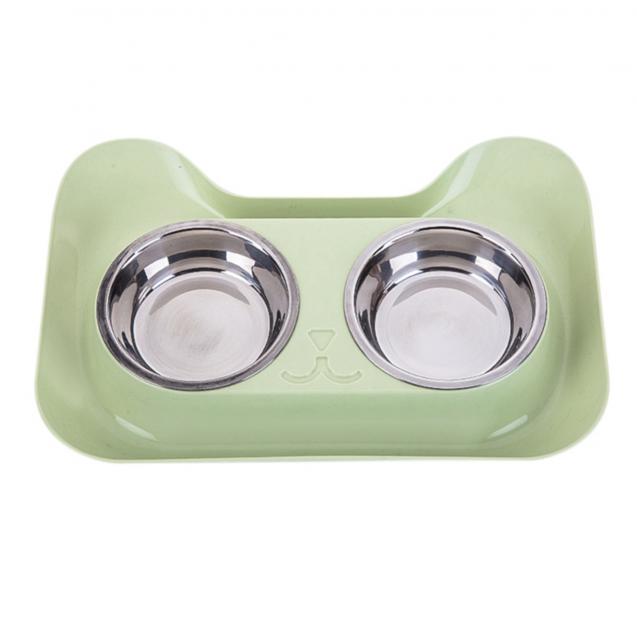 Двойная миска для собак, для кошек Смайл Nicovaer - зеленый