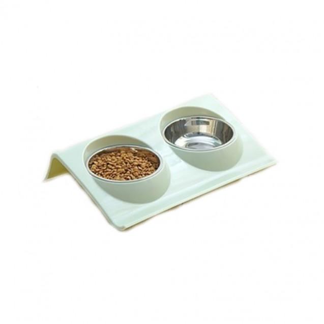 Двойная миска Смарт для собак, для кошек Nicovaer - зеленый