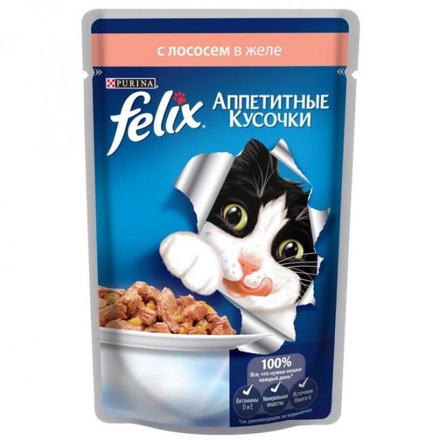 Влажный корм FELIX AGAIL для кошек, лосось в желе, пауч, 85 г