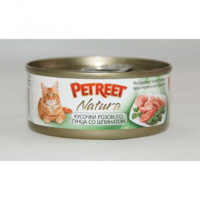 Влажный корм Petreet для кошек, кусочки розового тунца со шпинатом, ж/б, 70 г
