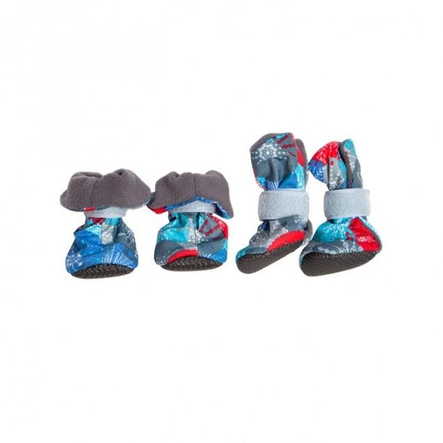 Ботиночки на флисе для собак, подошва ЭВА, размер S (ботинок 4х3,5х9 см), набор 4 шт, микс