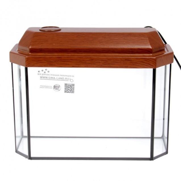 Аквариум панорамный с крышкой, 15 литров, 40 х 14,5 х 27/32,5 см, орех
