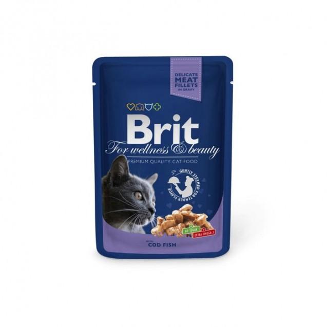 Влажный корм Brit Premium для кошек, треска, пауч, 100 г