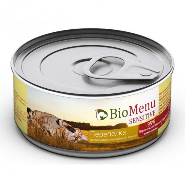 Влажный корм BioMenu SENSITIVE для кошек, мясной паштет с перепелкой 95%-мясо, 100 г