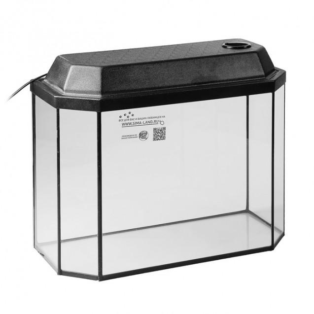 Аквариум панорамный с крышкой, 30 литров, 46 х 20 х 33/38,5 см, чёрный