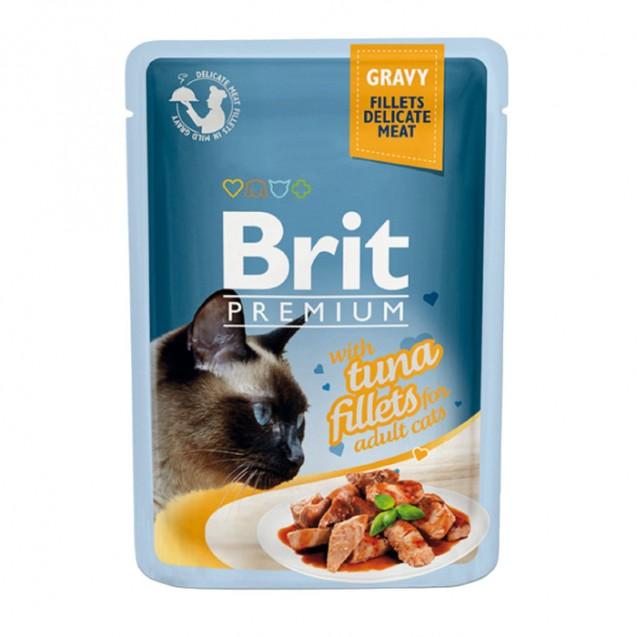 Влажный корм Brit Premium для кошек, кусочки из филе тунца в соусе, 85 г