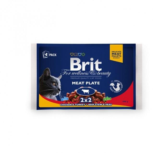 "Влажный корм Brit Premium ""Мясная тарелка"" для кошек, пауч, 4 х 100 г"