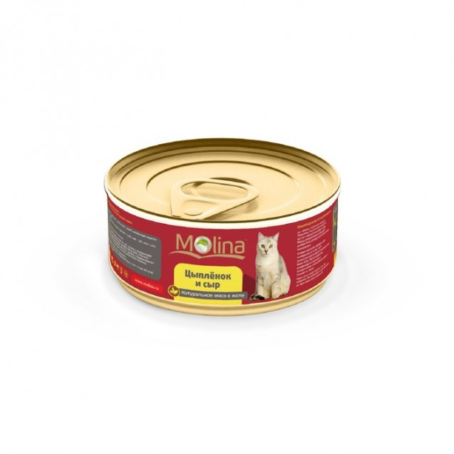Влажный корм Molina для кошек, цыпленок с сыром в желе, 80 г