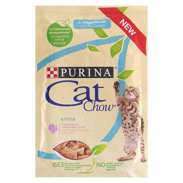 Влажный корм Cat Chow для котят, индейка/кабачок в желе, пауч, 85 г