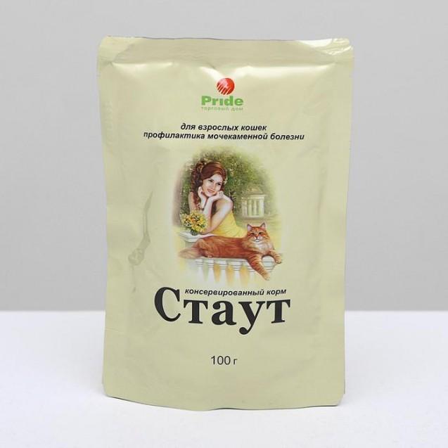"""Влажный корм """"Стаут"""" для взрослых кошек, профилактика МКБ, в соусе, 100 г"""