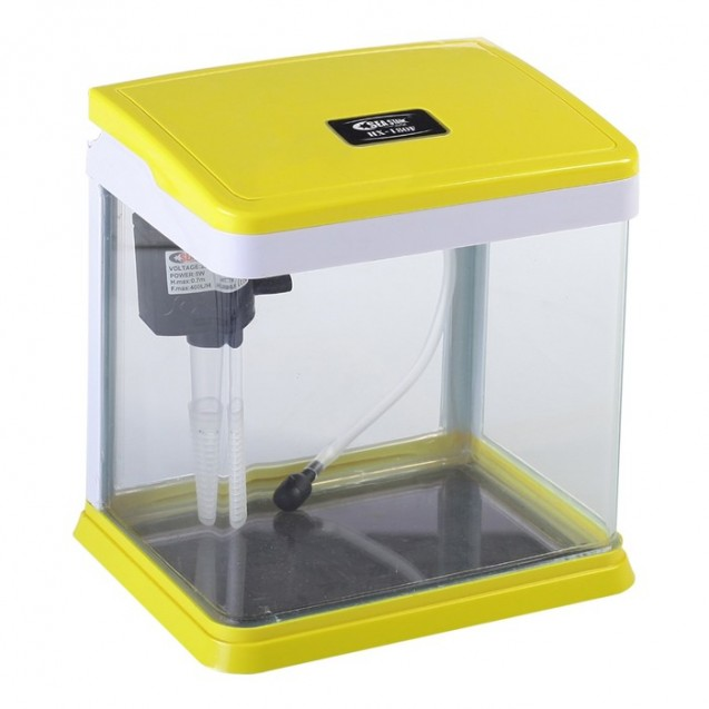 Аквариум SeaStar HX-180F (в комплекте LED-лампа, топ-фильтр), полезный объём 3,5 л, жёлтый с белым 3953842