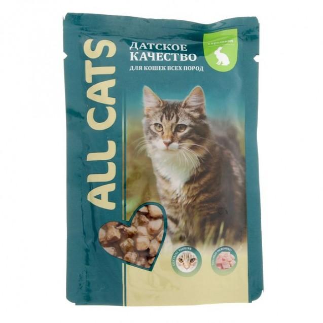 Влажный корм All cats для кошек, кролик в соусе, пауч, 85 г