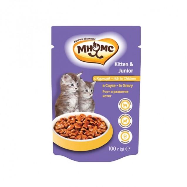 """Влажный корм """"Мнямс"""" для котят, рост и развитие, курица в соусе, пауч, 100 г"""