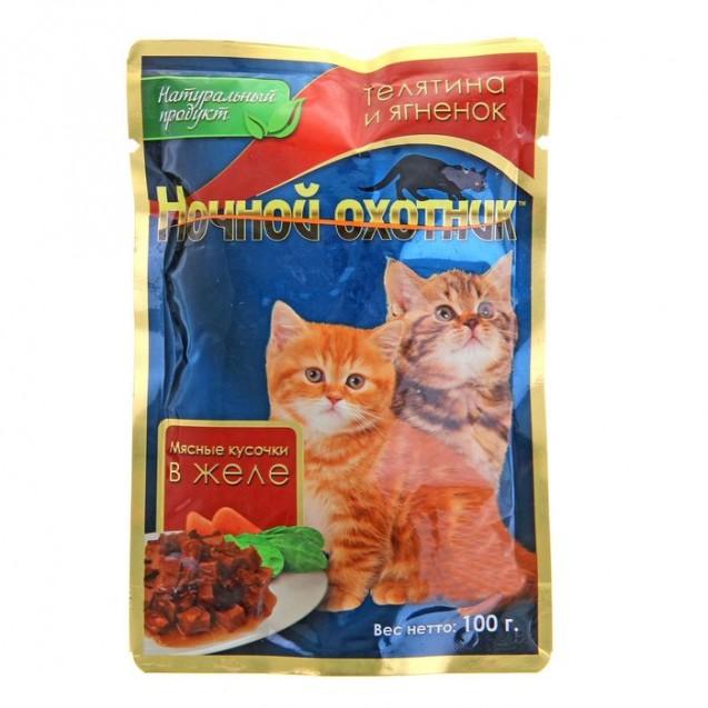 """Влажный корм """"Ночной охотник"""" для котят, телятина/ягненок, в желе, 100 г"""