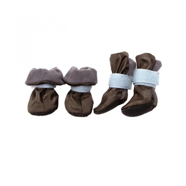 Ботиночки на флисе для собак, подошва ЭВА, размер XS (ботинок 3,5х3х9 см), набор 4 шт, микс   483534