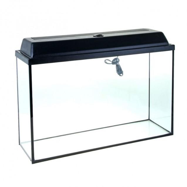 Аквариум прямоугольный Атолл с крышкой, 100 литров, 80 х 25 х 50/56 см, чёрный