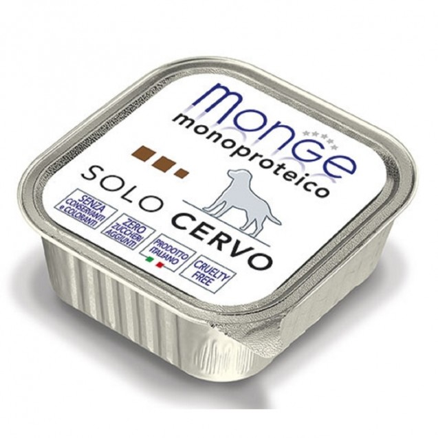 Влажный корм Monge Dog Monoproteico Solo для собак, паштет из оленины, ламистер, 150 г