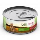 Влажный корм BioMenu ADULT для кошек, мясной паштет с кроликом 95%-мясо, 100 г