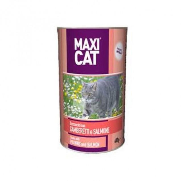 Влажный корм Maxi Cat для кошек, с креветками и лососем, кусочки, 400 г