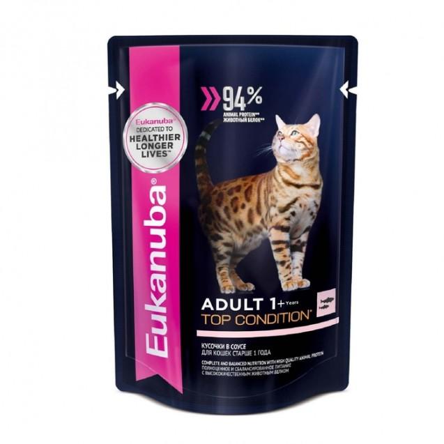 Влажный корм EUK Cat для взрослых кошек, лосось в соусе, пауч, 85 г