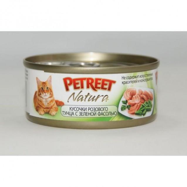 Влажный корм Petreet для кошек, кусочки розового тунца с зеленой фасолью, ж/б, 70 г