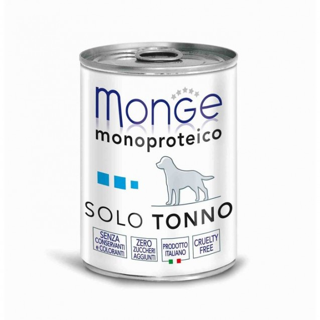 Влажный корм Monge Dog Monoproteico Solo для собак, паштет из тунца, ж/б, 400 г