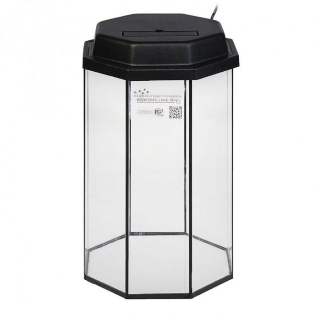 Аквариум восьмигранный с крышкой, 70 литров, 40 х 40 х 60/66см, чёрный