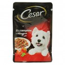 Влажный корм Cesar для собак, говядина с овощами, пауч, 85 г