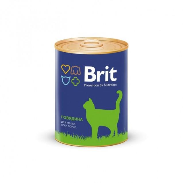 Влажный корм Brit Premium для кошек, говядина, ж/б, 340 г