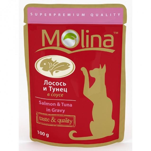 Влажный корм Molina для кошек, лосось и тунец в соусе, 100 г