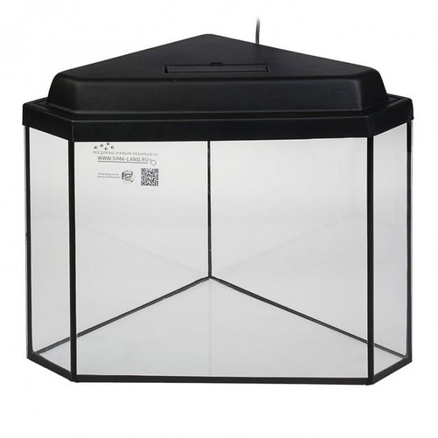 Аквариум дельта угловой с крышкой, 40 литров, 39 х 39 х 36/41,5 см, чёрный
