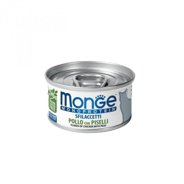 Влажный корм Monge Cat Monoprotein для кошек, хлопья из курицы с горошком, ж/б, 80 г