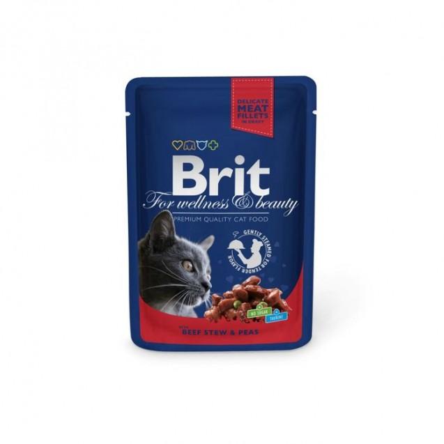 Влажный корм Brit Premium для кошек, говядина и горошек, пауч, 100 г