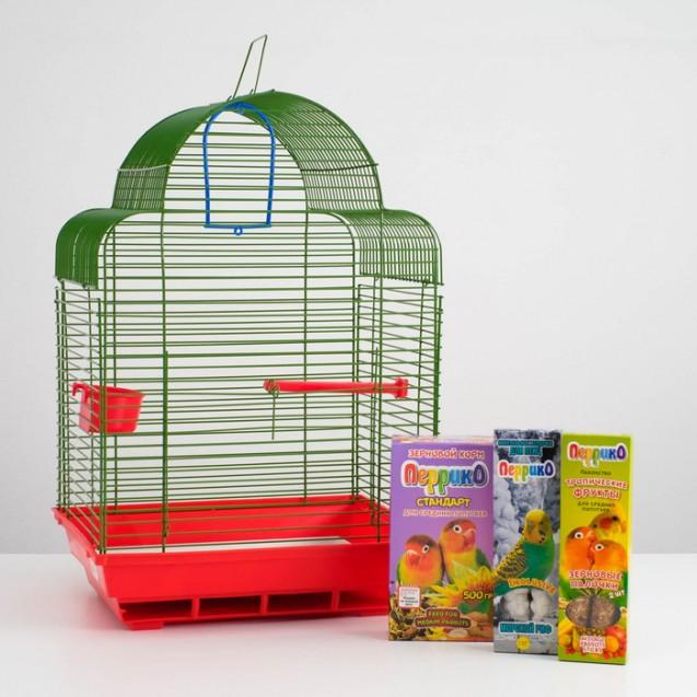 Акция для средних птиц! Клетка, корм, палочки, жердочка