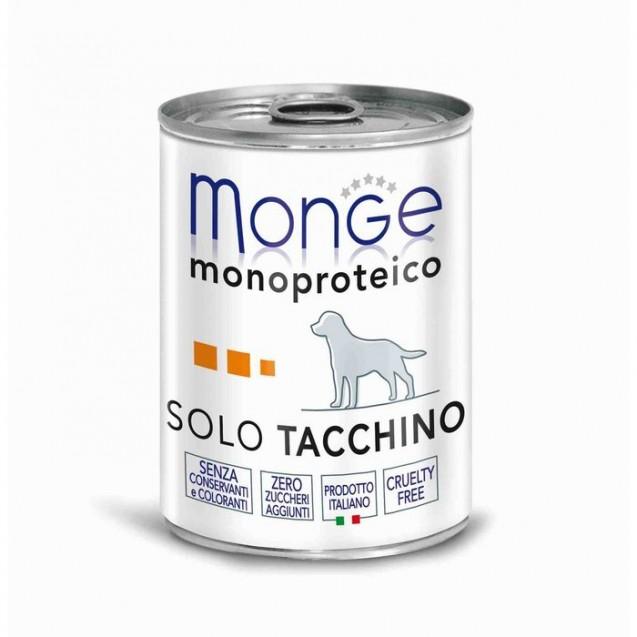 Влажный корм Monge Dog Monoproteico Solo для собак, паштет из индейки, ж/б, 400 г