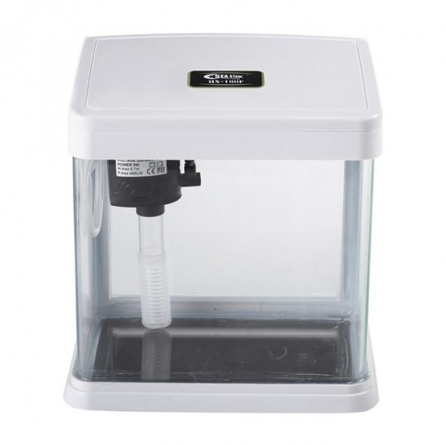 Аквариум SeaStar HX-180F (в комплекте LED-лампа, топ-фильтр), полезный объём 3,5 л, белый