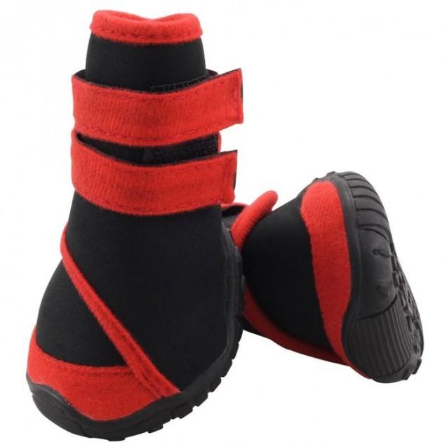 Ботинки Triol мягкие для собак XS , неопрен на липучках,  красные