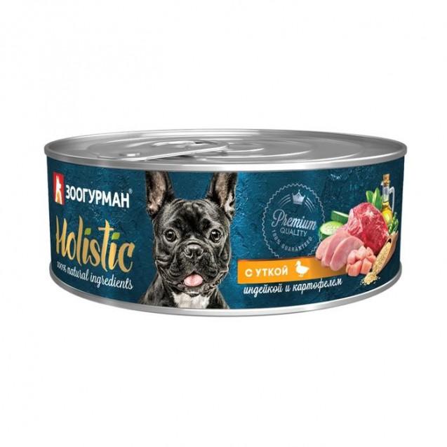 Влажный корм Holistic для собак, утка/индейка/картофель, ж/б, 100 г
