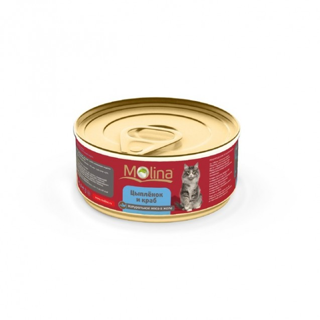 Влажный корм Molina для кошек, цыпленок с крабами в желе, 80 г