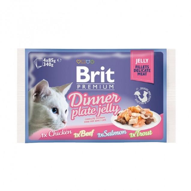 Влажный корм Brit Premium Dinner Plate Jelly для кошек, набор, кусочки в желе, 4 x 85 г