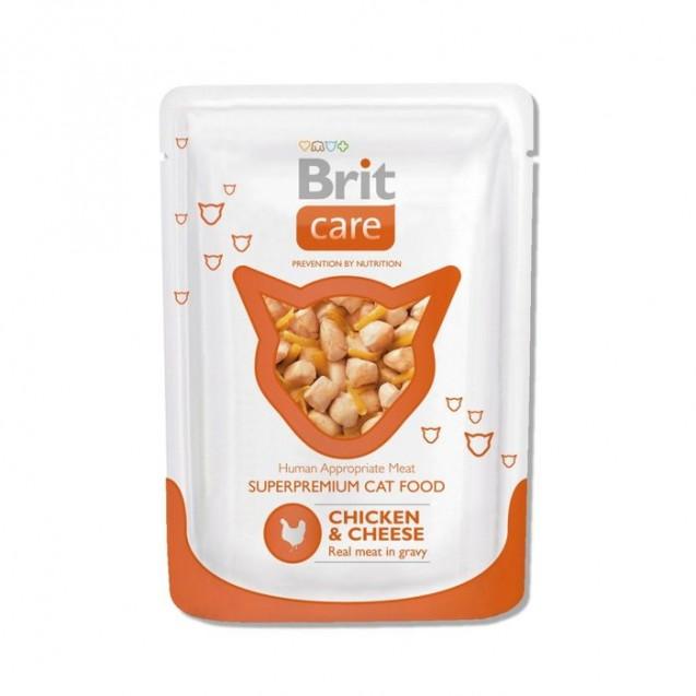 Влажный корм Brit Care для кошек, курица и сыр, пауч 80г