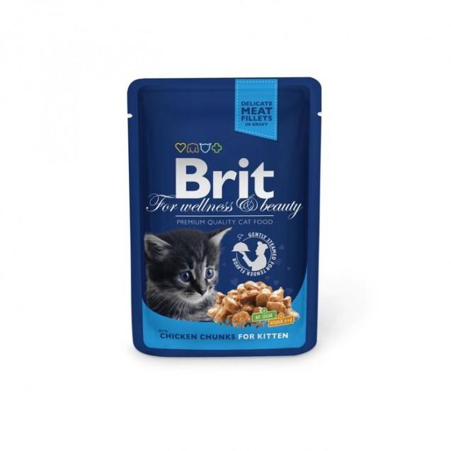 Влажный корм Brit Premium для котят, курица, пауч, 100 г