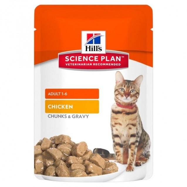 Влажный корм Hill's SP Cat для кошек, курица в соусе, пауч, 85 г