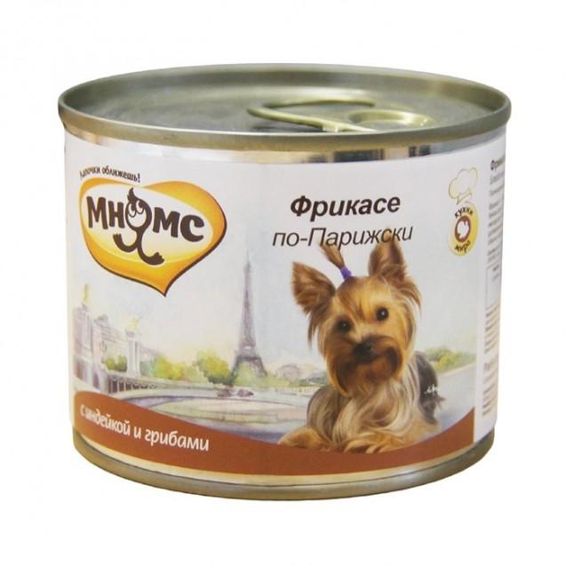 """Влажный корм Мнямс """"Фрикасе по-Парижски"""" для собак, индейка c пряностями, ж/б, 200 г"""