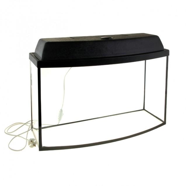 Аквариум телевизор с крышкой, 55 литров, 63 х 25 х 36/42 см, чёрный