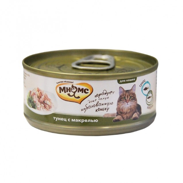 """Влажный корм """"Мнямс"""" для кошек, тунец с макрелью в нежном желе, ж/б, 70 г"""